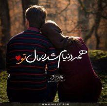 عکس نوشته عاشقانه همه دنیام شده مال تو